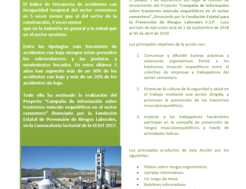 """Inicio y desarrollo de la""""Campaña de información sobre trastornos músculo esqueléticos en el sector cementero"""""""