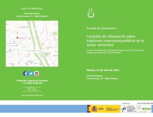 """Jornada de presentación de la """"campaña de información sobre trastornos musculoesqueléticos"""" en el sector cementero. Madrid, 24 de abril"""